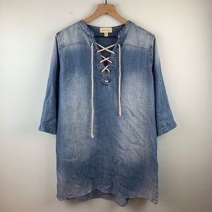Cloth & Stone Lace Up Chambray Dress